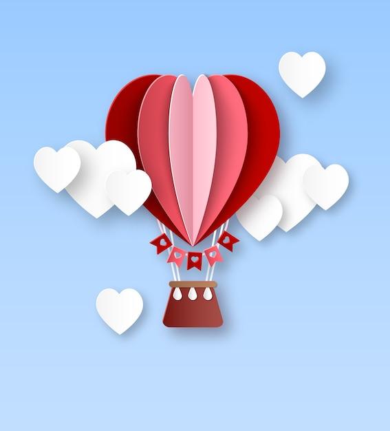 Ballon à Air De Coeur. Papier Découpé Ballon à Air Chaud Avec Des Nuages Blancs En Forme De Coeur Carte D'invitation Joyeuse Saint Valentin Célébrer Le Concept Romantique Vecteur Premium