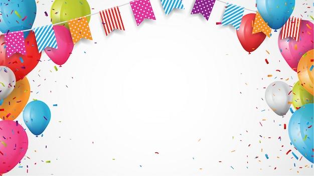 Ballon D'anniversaire Coloré Avec Drapeaux Nid D'ange Et Fond De Confettis Vecteur Premium