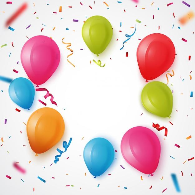 Ballon D'anniversaire Coloré Avec Fond De Confettis Vecteur Premium