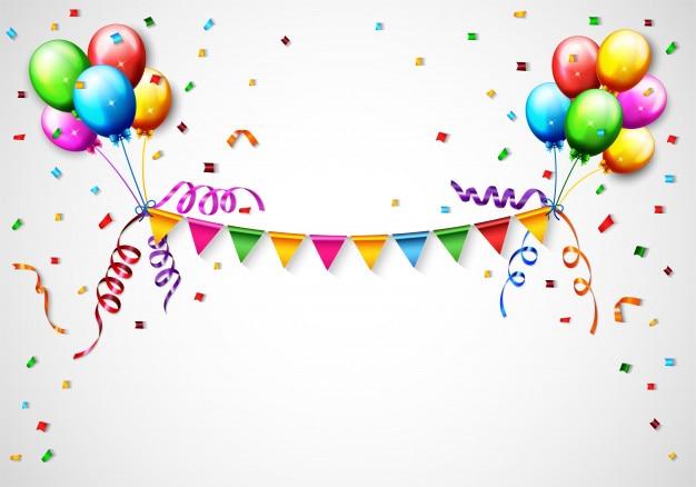 Ballon d'anniversaire avec fond de confettis Vecteur Premium