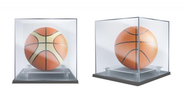 Ballon De Basket Sous Vecteur Réaliste Vitrine Vecteur gratuit