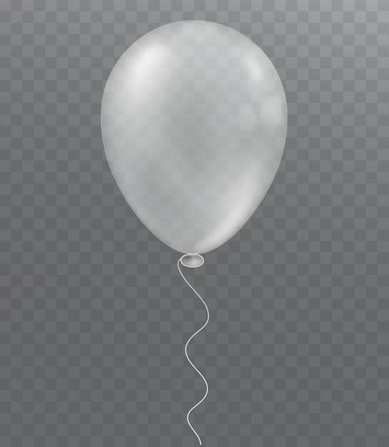 Ballon blanc sur fond transparent. décoration de fête. Vecteur Premium