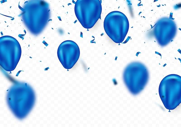 Ballon bleu et fond de confettis, magnifiquement arrangé pour décorer diverses fêtes Vecteur Premium