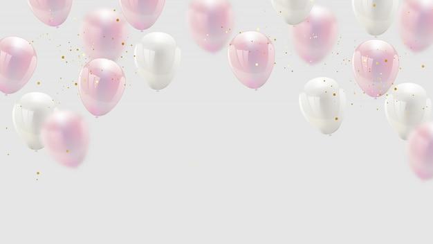 Ballon design couleur confetti rose et rubans dorés Vecteur Premium
