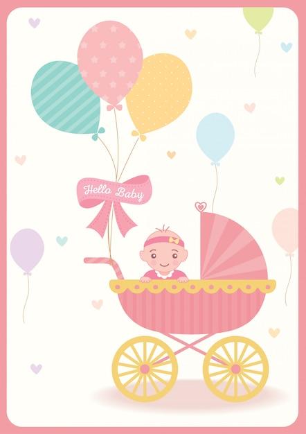 Ballon de douche bébé fille Vecteur Premium