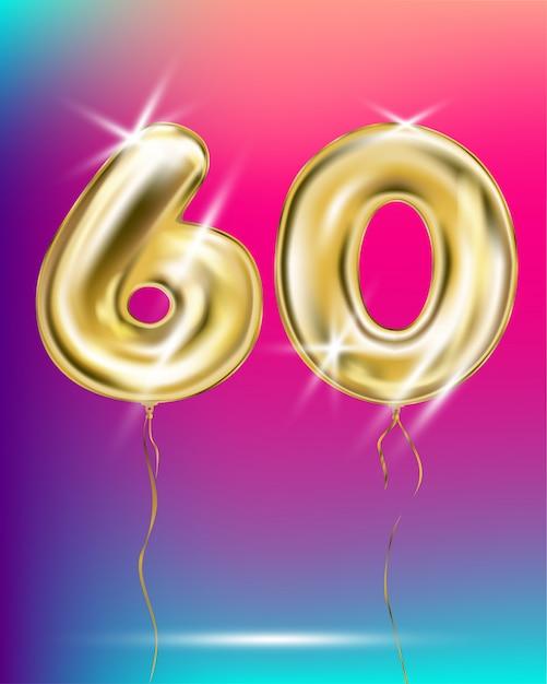 Ballon en feuille d'or numéro soixante sur dégradé Vecteur Premium