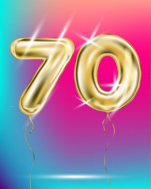 Ballon à feuille d'or numéro soixante dix sur un dégradé Vecteur Premium