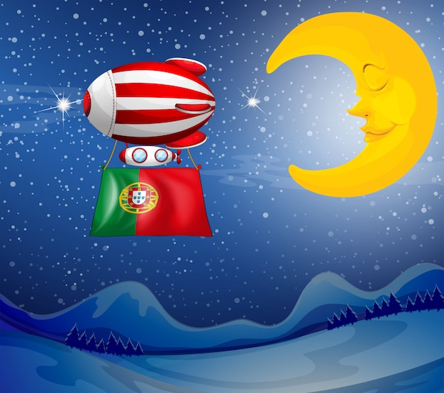 Un ballon flottant avec le drapeau du portugal Vecteur gratuit