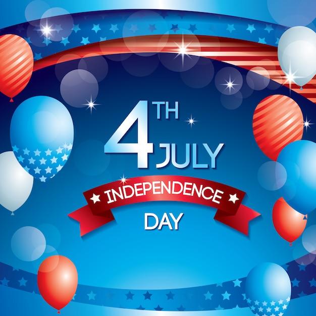 Ballon de fond de fête de l'indépendance Vecteur Premium