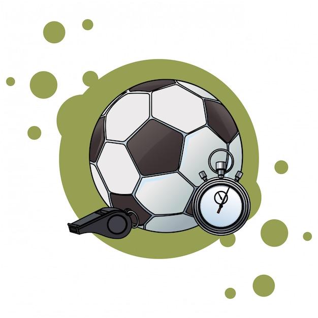 Ballon de foot et chronomètre Vecteur Premium