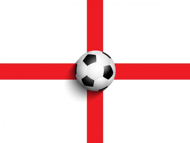 Ballon de foot sur fond de drapeau angleterre Vecteur gratuit