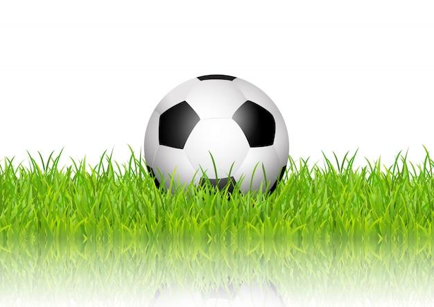 Ballon de foot en herbe sur fond blanc Vecteur gratuit