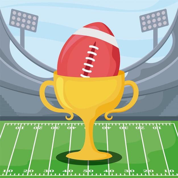 Ballon De Football Américain Et Trophée Sur Terrain Vecteur Premium