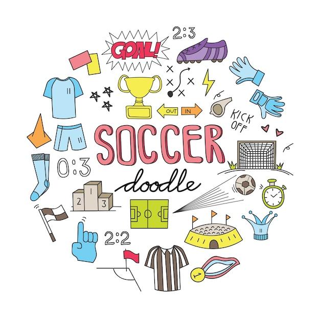 Ballon de football doodle set vector illustration Vecteur Premium