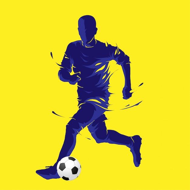 Ballon de football pose silhouette bleue Vecteur Premium