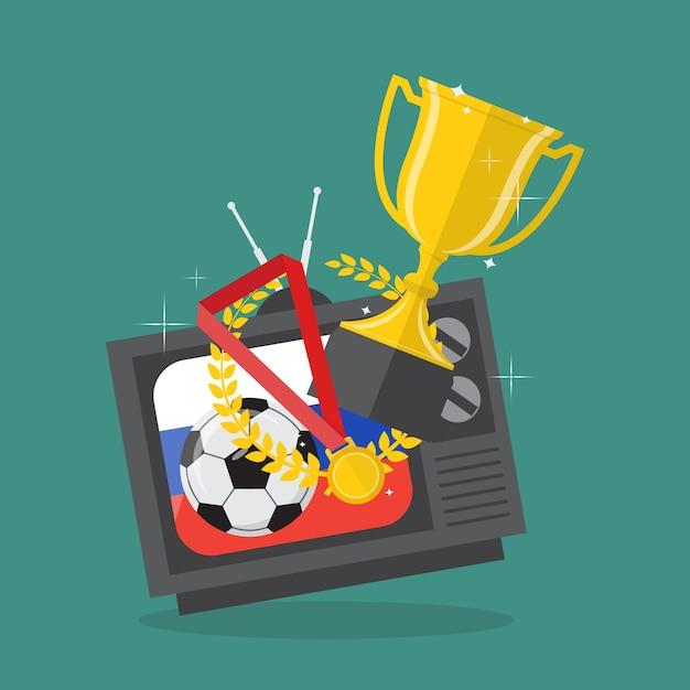 Ballon de football et des prix à la télévision avec fond de drapeau de russie Vecteur Premium