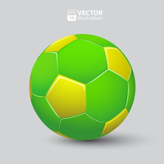 Ballon De Football En Vert Et Jaune Réaliste Isolé Vecteur gratuit