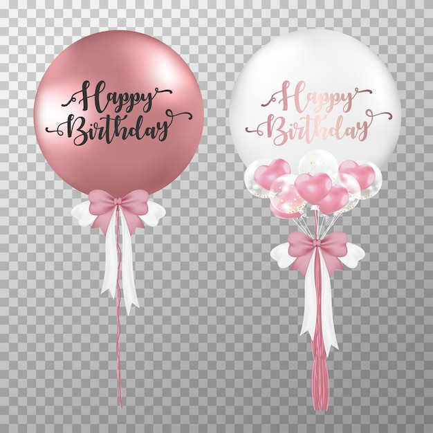 Ballon d'hélium rose et or rose anniversaire réaliste. Vecteur Premium