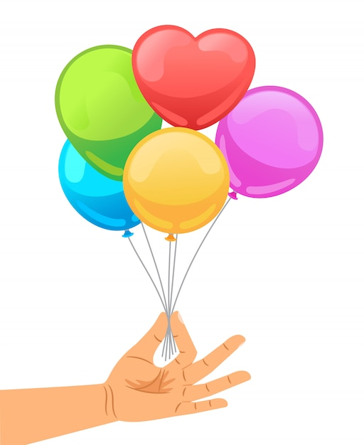 Ballon, Main Humaine Vecteur Premium