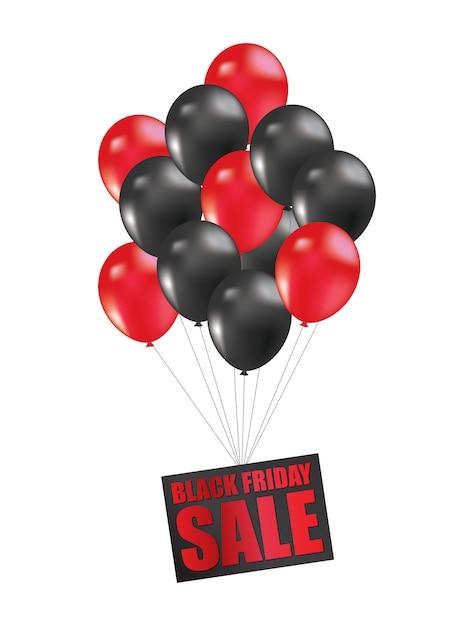 Ballon noir vendredi Vecteur Premium