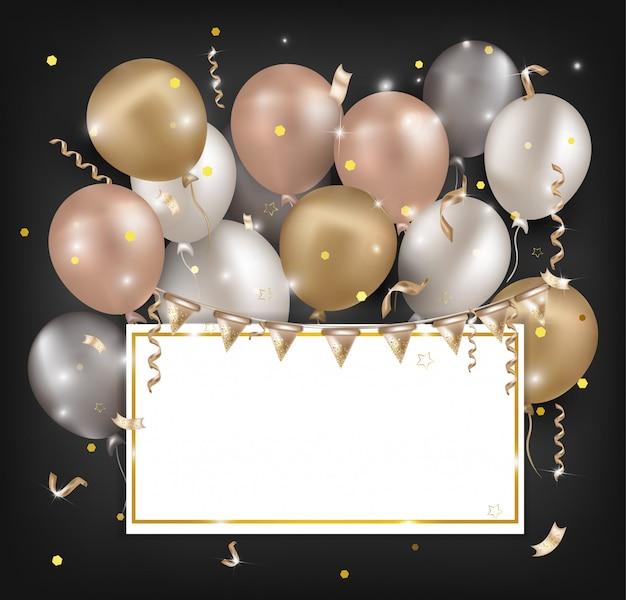 Ballons à air bannières pour fêtes, ventes, vacances, anniversaires. Vecteur Premium