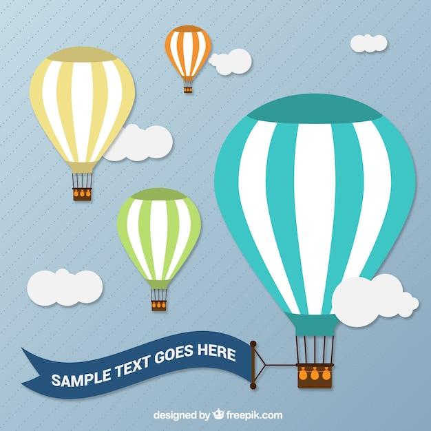 Ballons à Air Chaud Avec Une Bannière Vecteur gratuit
