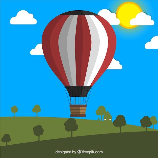 Ballons à Air Chaud Dans Une Prairie Vecteur gratuit