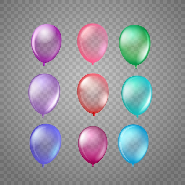 Ballons à air de couleurs différentes isolés sur tranparent Vecteur Premium