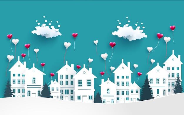 Des ballons amoureux survolent la ville Vecteur Premium