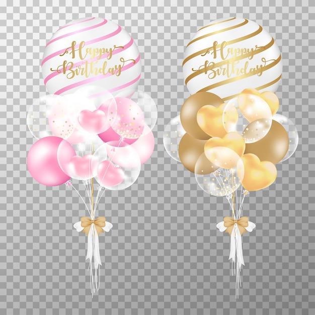 Ballons d'anniversaire roses et dorés réalistes. Vecteur Premium