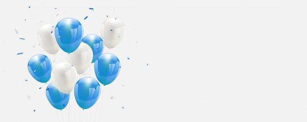 Ballons bleus confettis et rubans Vecteur Premium