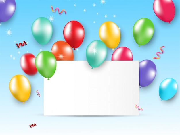 Ballons Brillants De Fête De Carte. Vecteur Premium