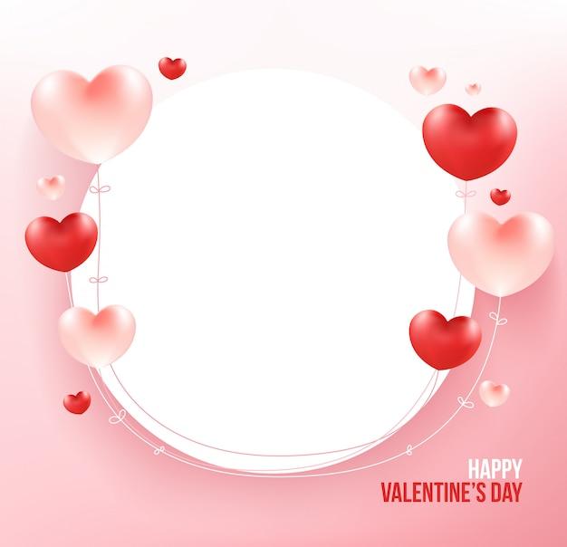 Ballons Coeur Sur Cadre Cercle Blanc. Vecteur Premium