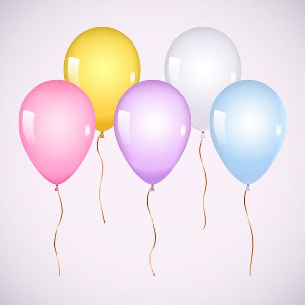 Ballons colorés à l'hélium Vecteur Premium
