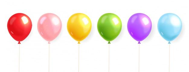 Ballons Colorés Mis En Réaliste, Ballon D'hélium, Fond D'anniversaire, Carte De Fête, Illustration Festive, Isolée Vecteur Premium