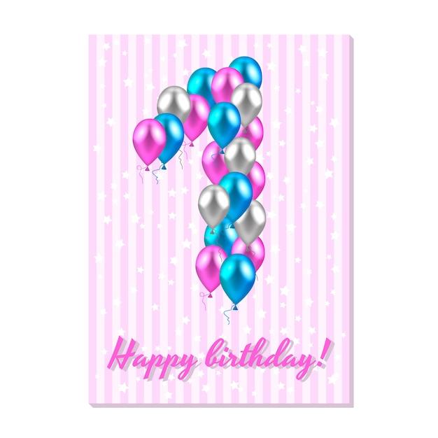 Ballons colorés réalistes le premier anniversaire. Vecteur Premium