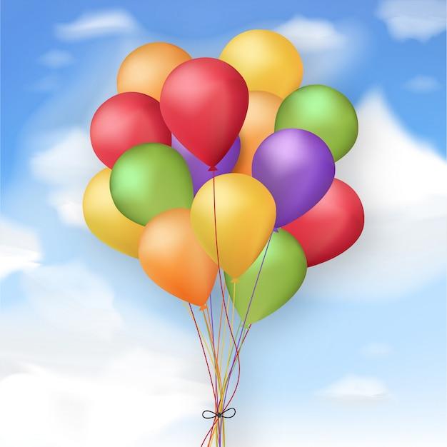 Ballons colorés réalistes Vecteur gratuit