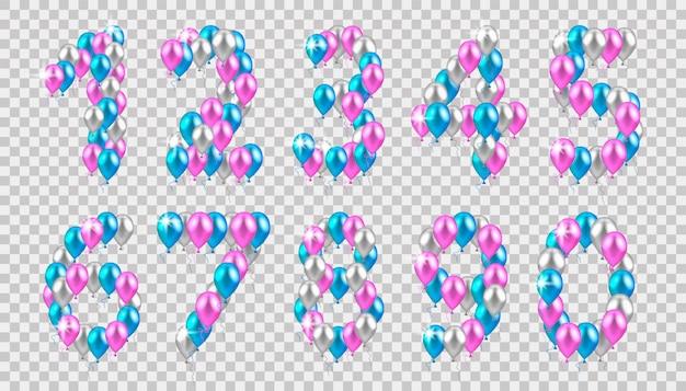 Ballons colorés réalistes Vecteur Premium