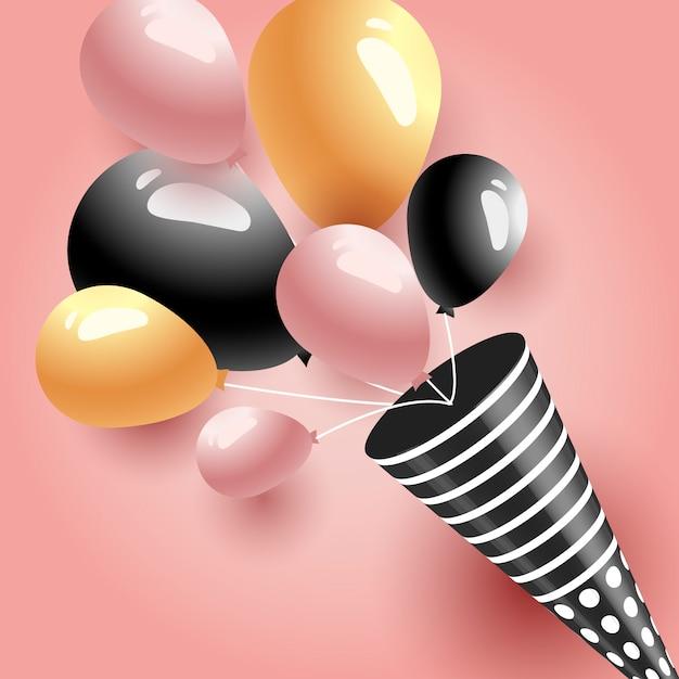 Ballons de fête d'anniversaire Vecteur Premium