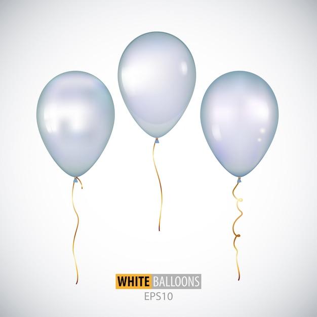 Ballons à l'hélium blanc 3d réalistes isolés Vecteur Premium