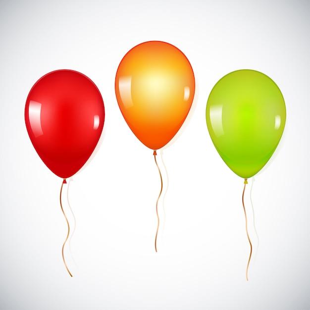 Ballons d'hélium réalistes colorés isolés Vecteur Premium