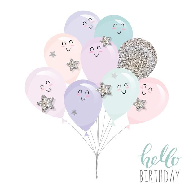 Ballons kawaii mignons. Vecteur Premium