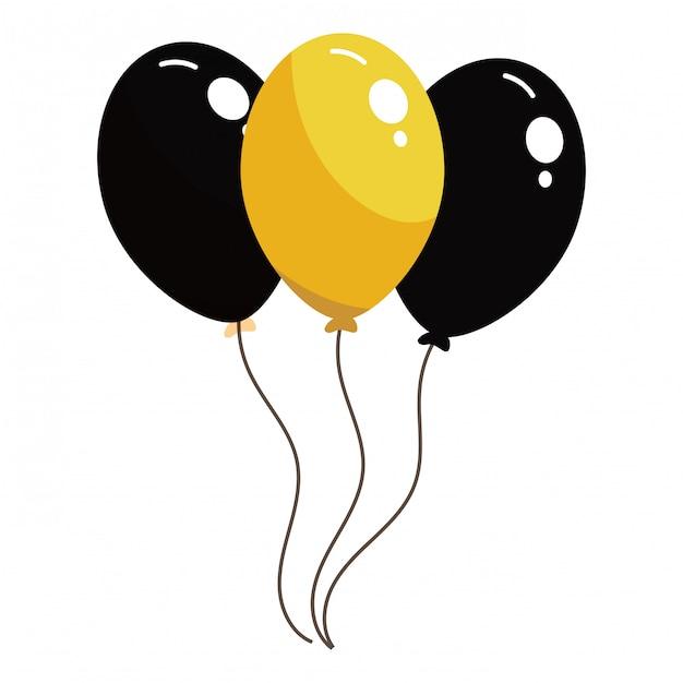 Ballons noirs et jaunes Vecteur Premium