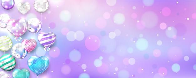 Ballons Pastel Sur Fond De Bokeh Avec Espace Copie Vecteur gratuit