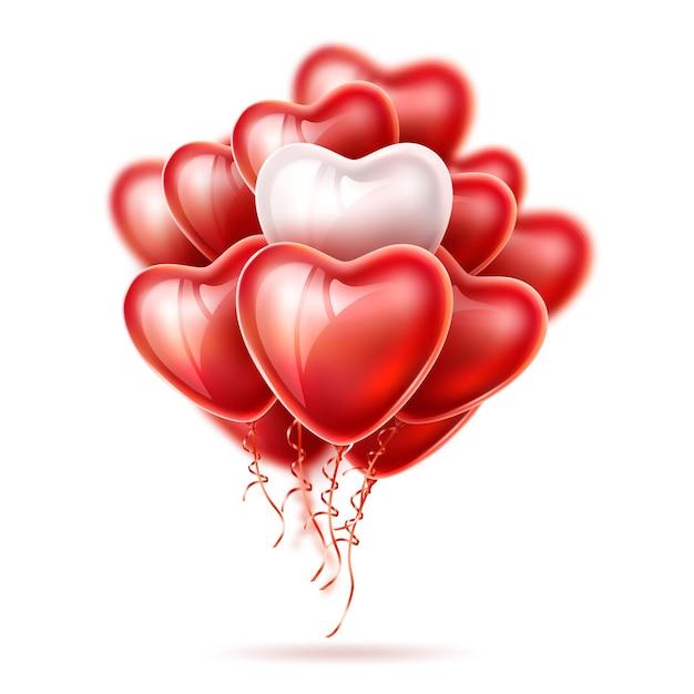 Ballons Réalistes En Forme De Coeur, Rubans élégants En Soie Isolés. Vecteur Premium