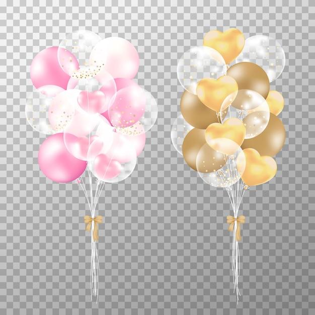 Ballons réalistes roses et dorés Vecteur Premium