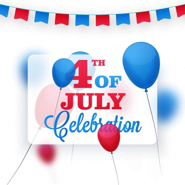 Des Ballons Rouges Et Bleus Ou Des étampes Ont Décoré L'arrière-plan Pour Le 4 Juillet, Célébration De La Fête De L'indépendance Américaine. Vecteur gratuit
