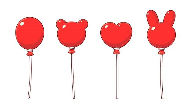 Ballons Rouges En Style Cartoon, Formes Variées. Vecteur Premium