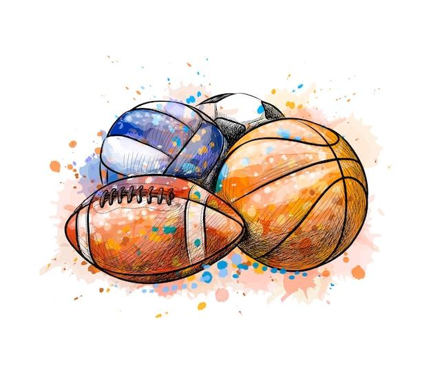 Ballons De Sport Collection Football Basket-ball Volley-ball D'une Touche D'aquarelle, Croquis Dessiné à La Main. Illustration De Peintures Vecteur Premium