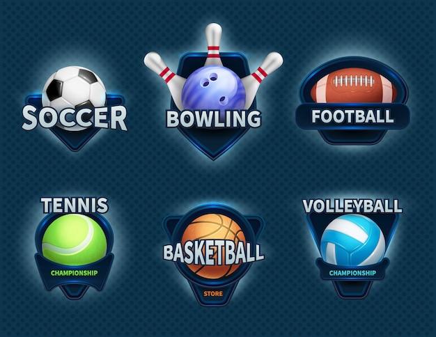 Ballons de sport vecteur étiquettes et emblèmes d'équipe de sport Vecteur Premium